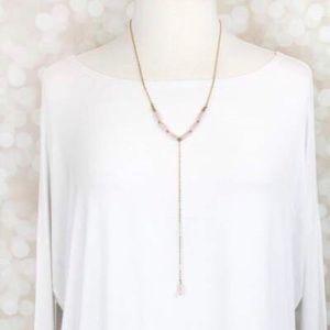 New! Rose Quartz Crystal Druzy Necklace
